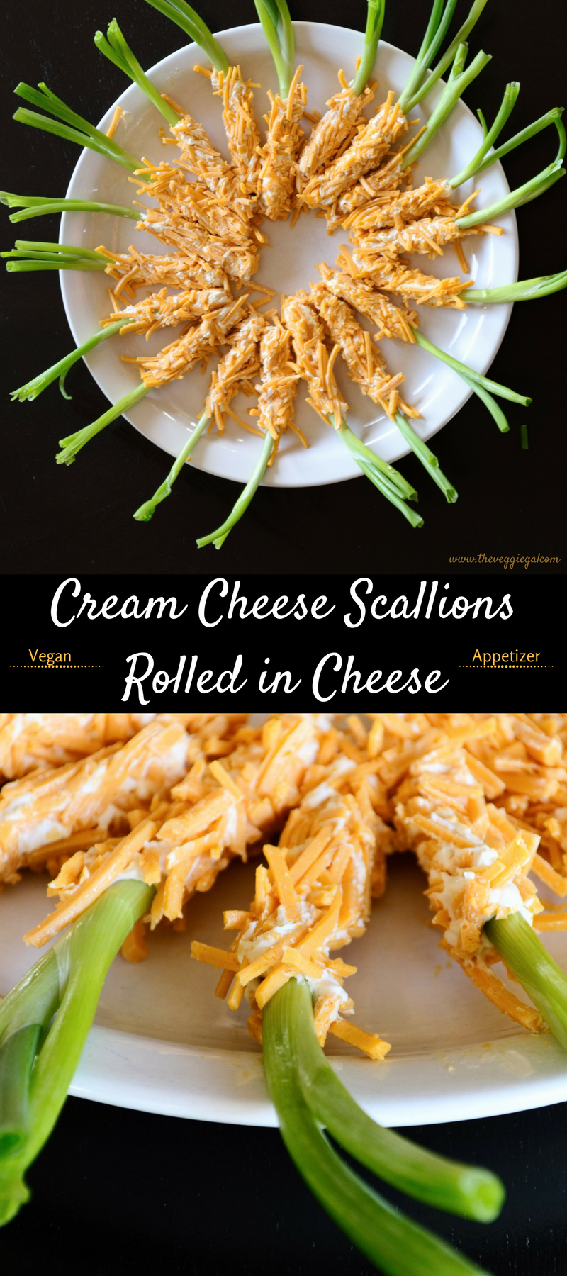 Vegan, Cream Cheese Scallions Rolled in Cheese, green onions, appetizers