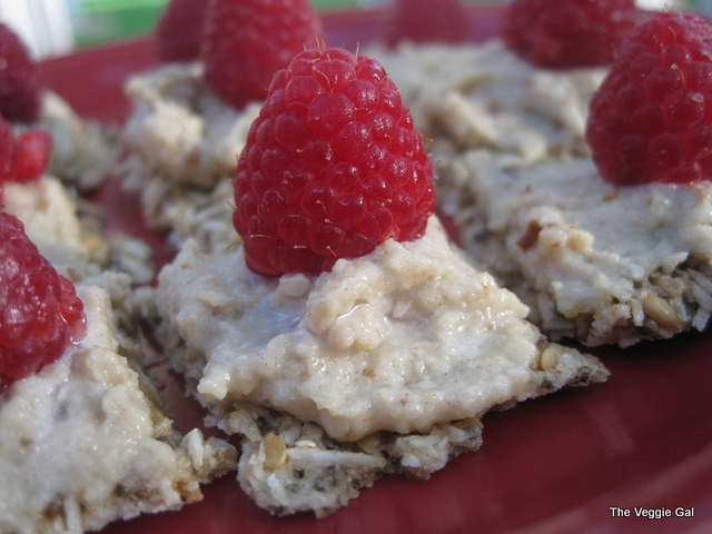 Raw Coconut Flax Crackers with Cashew Cream