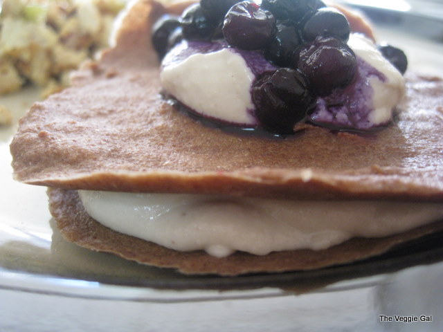 Raw Banana Pancakes with Cashew Cream and Blueberries