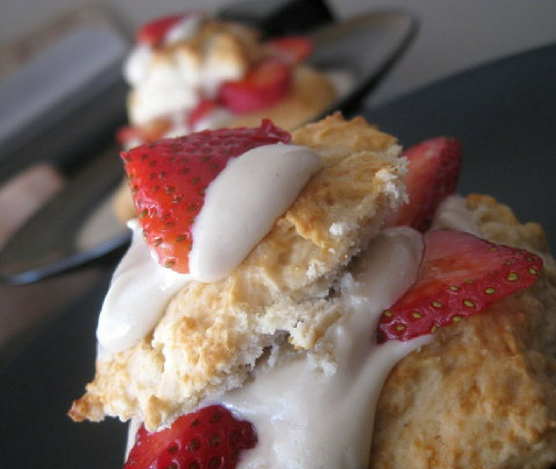 Strawberry Short-Biscuits with Cashew Cream