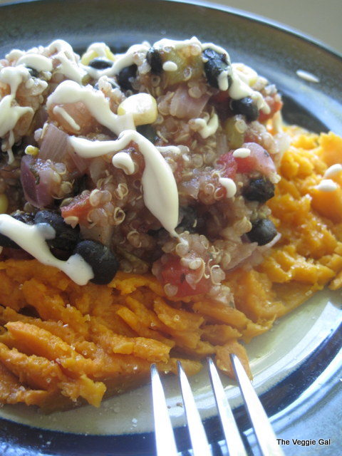 Black Bean Quinoa over a Sweet Potato with Cashew Sour Cream