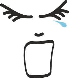 Screaming face with tear line drawing