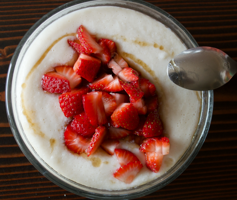 Coconut Cream of Rice with Strawberries