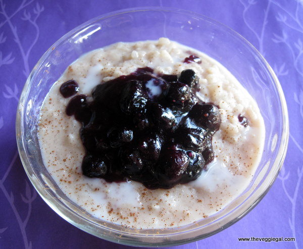 Rice Pudding with Blueberry Sauce