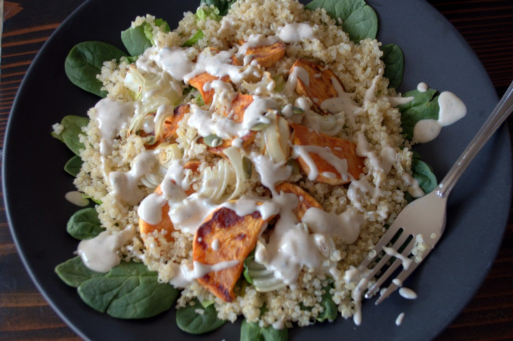 Roasted Veggie Quinoa Salad with Cashew Ranch Dressing