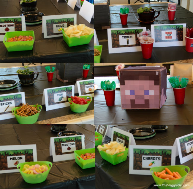 Minecraft snack bowls & Steve head centerpiece